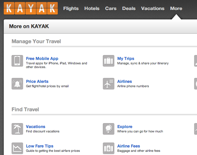 kayak award travel tool