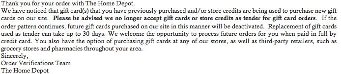 Home Depot Gift Card Not Accepted