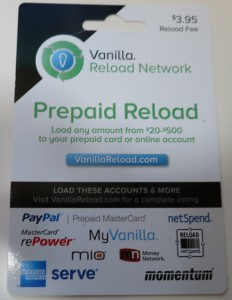 Vanilla Reload card
