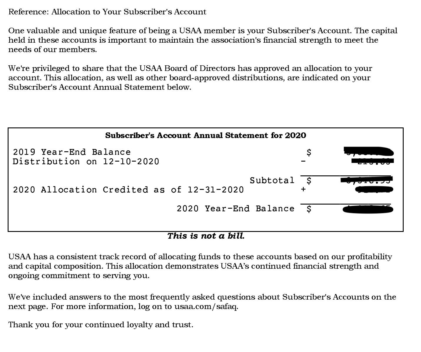 USAA SSA Statement