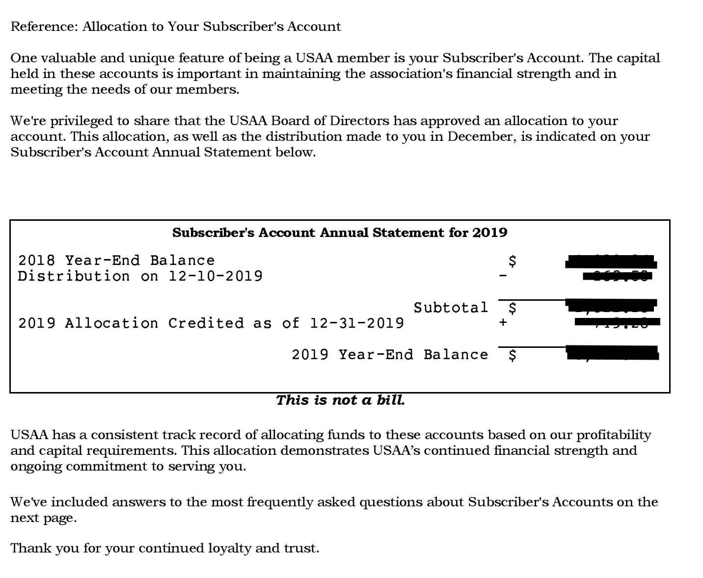 USAA Subscriber Savings Account Distribution 2019